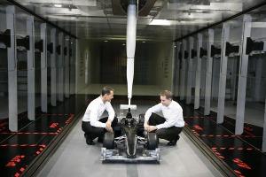Michael Schumacher in the Mercedes GP wind tunnel